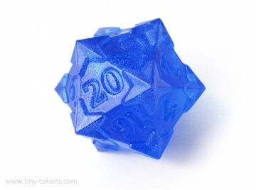 Starry D20 - Blue (Blue/Purple Shimmer), Numerically Balanced