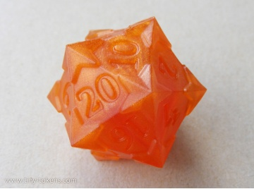 Starry D20 - Pumpkin Orange, Numerically Balanced